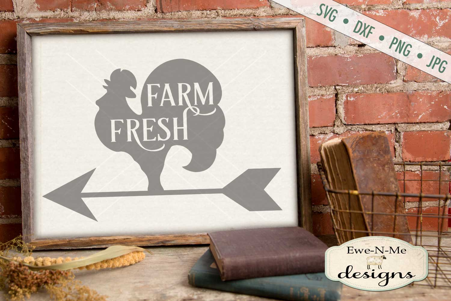Farm Fresh Rooster Weathervane SVG DXF File example image 1