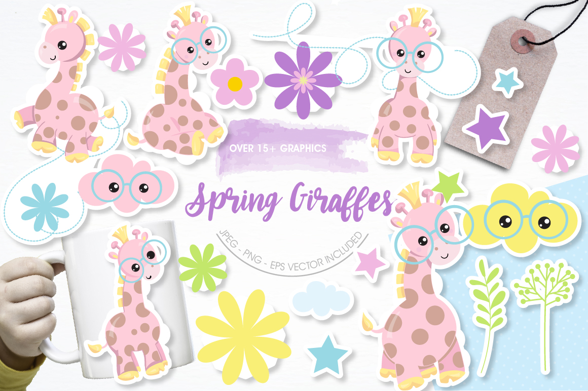 Spring Giraffe graphics and illustrations example image 1