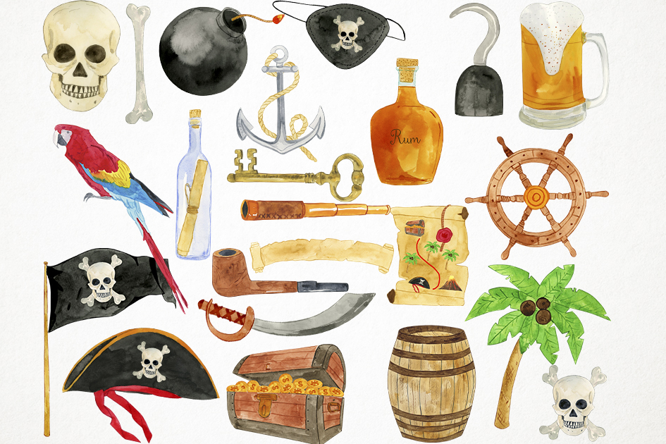 Watercolor Pirates Clipart, Pirates Clip Art, Pirates PNG example image 2