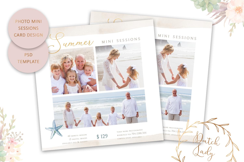 PSD Photo Summer Beach Mini Session Card Template - #42 example image 1