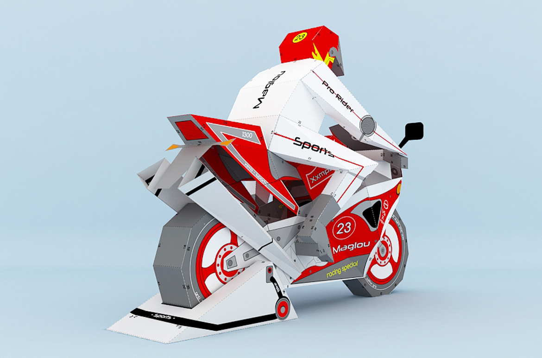 DIY Sports bike - 3d papercraft example image 3