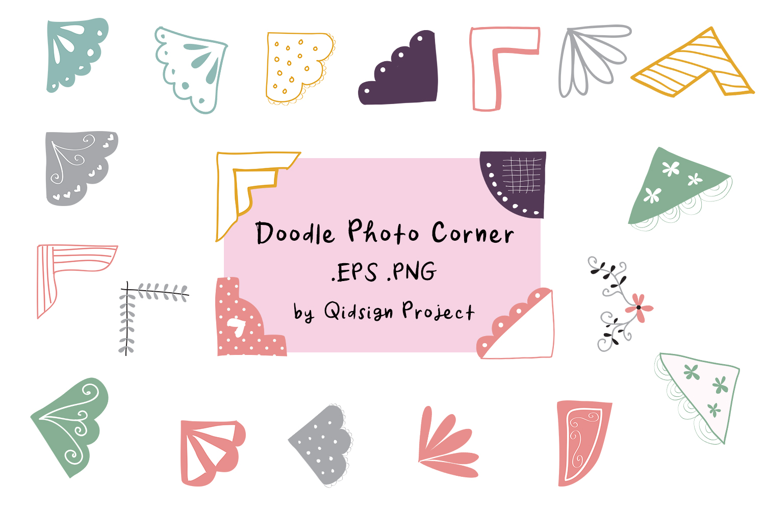 22 Doodle Photo Corner Clipart .EPS .PNG example image 1
