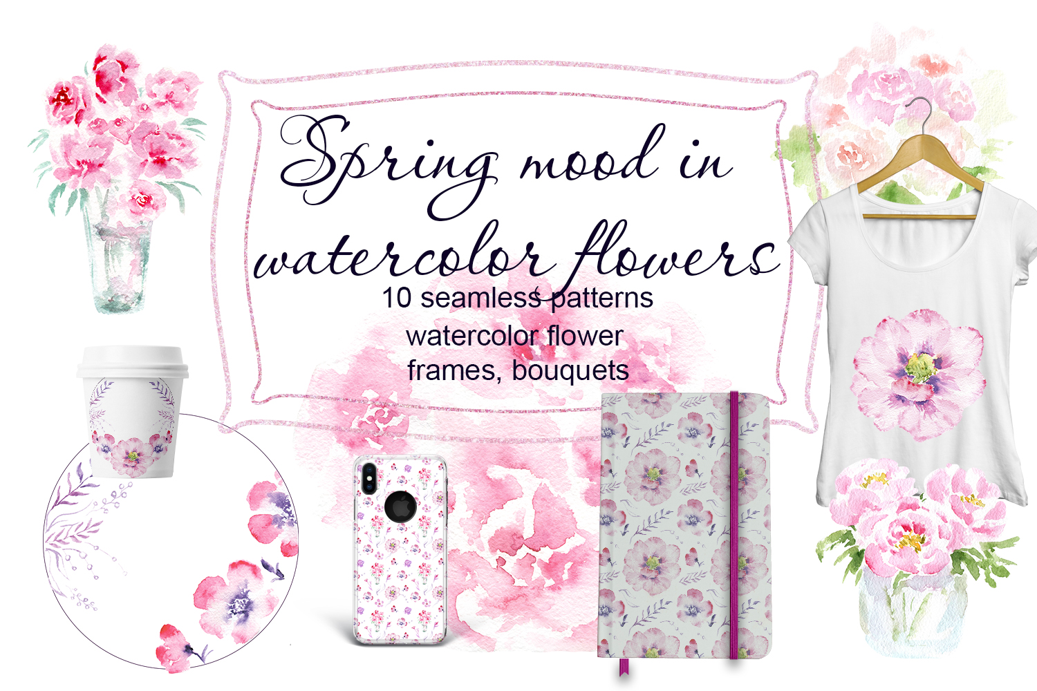 Spring mood in watercolor flowers example image 1