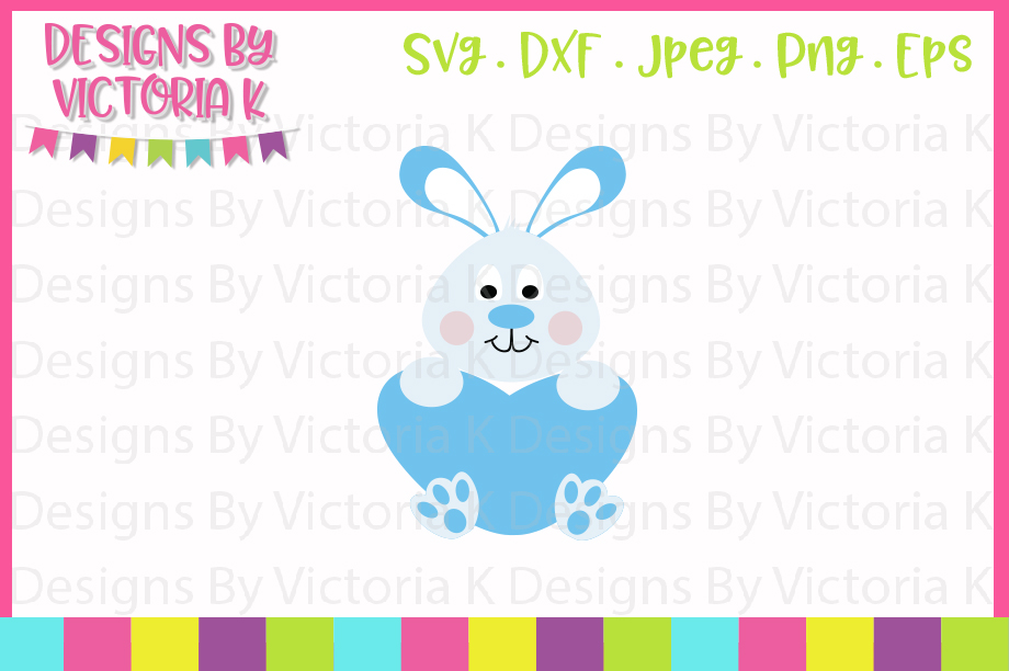 Boy Bunny with heart, SVG, DXF, PNG example image 1
