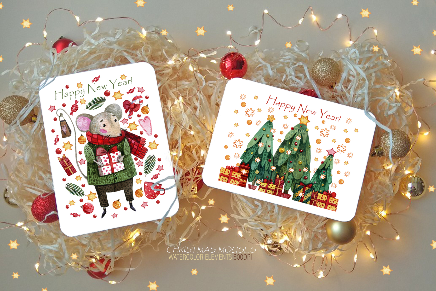 Christmas mouses watercolor collection example image 5