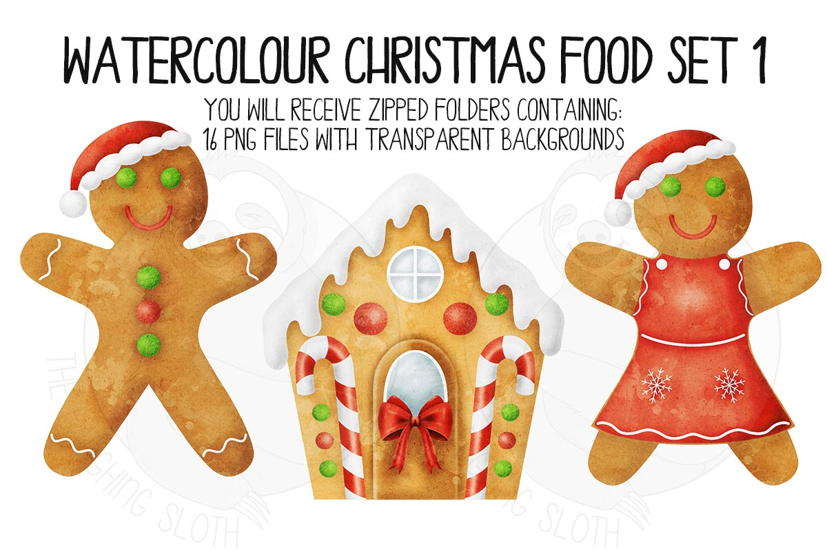 Watercolor Christmas Food Clipart Set 1 example image 6