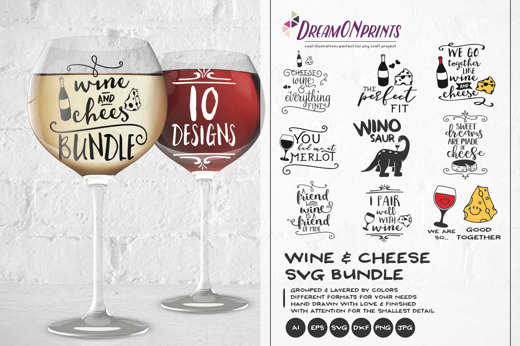Wine and Cheese SVG BUNDLE - Bundle SVG Cut Files example image 1