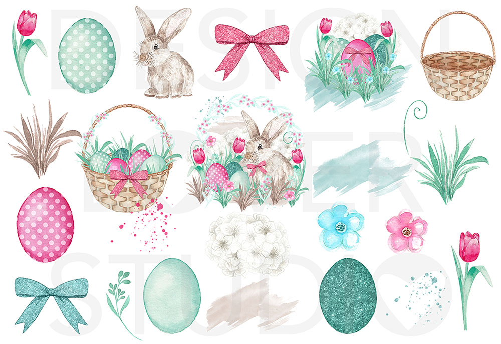 Watercolor Happy easter design example image 2