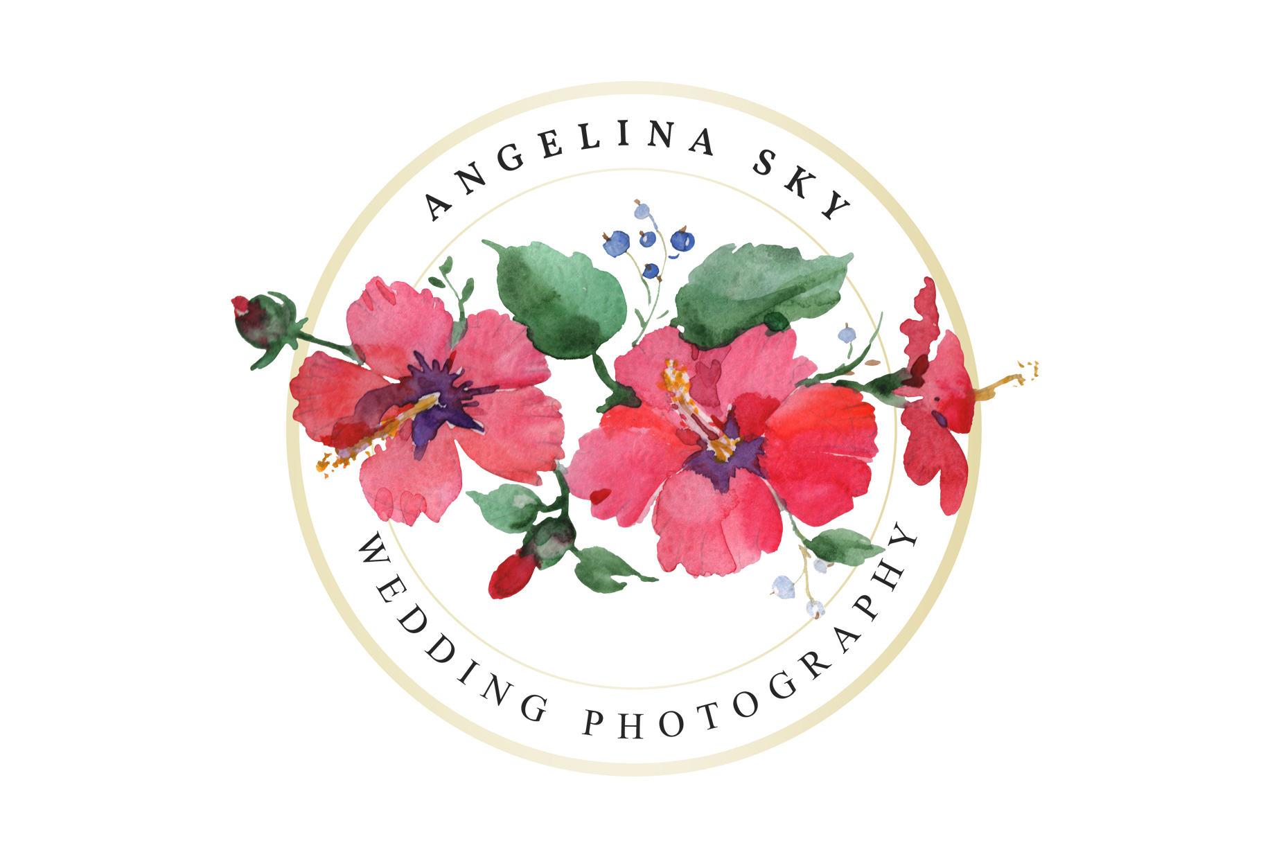 LOGO with red hibiscus and bluebells Watercolor png example image 2
