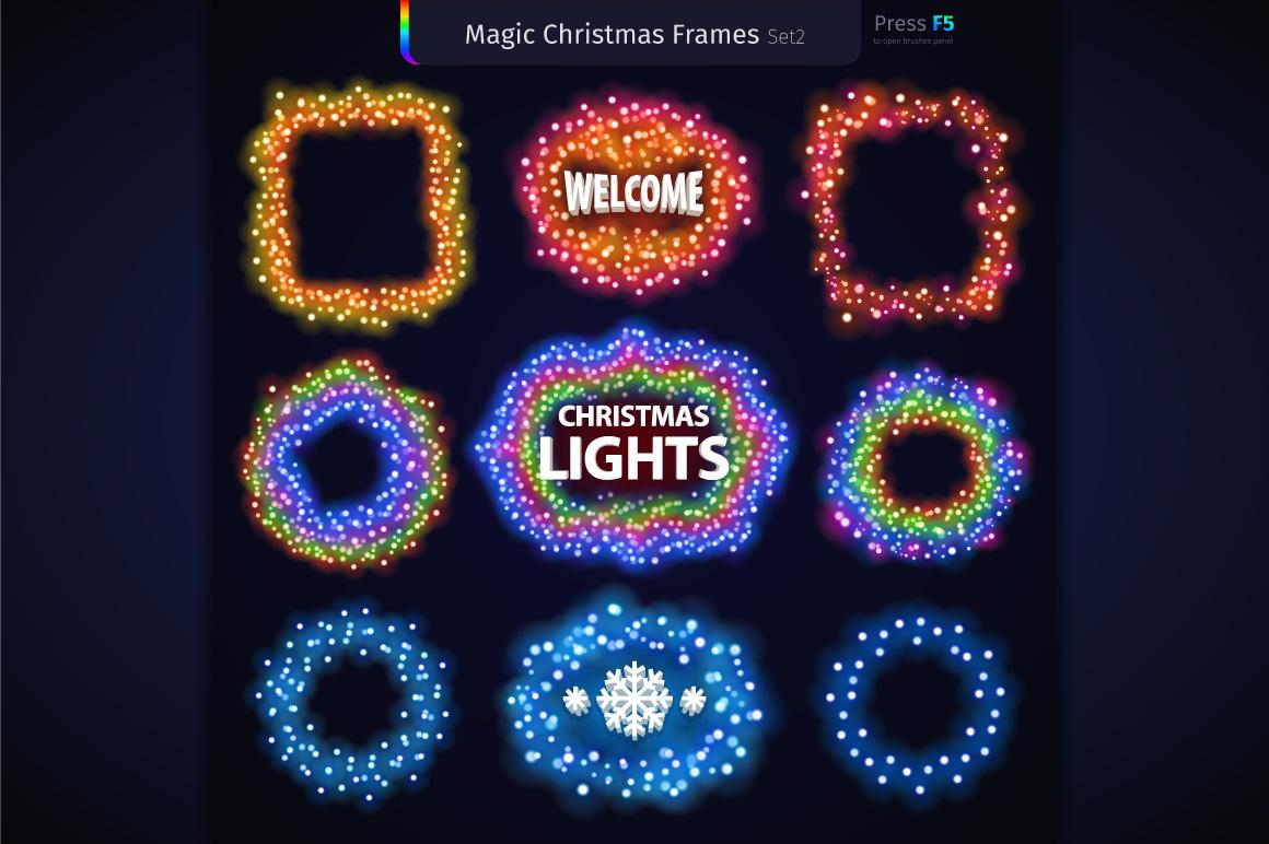 Magic Christmas Lights Vector Brushes Big Set example image 7