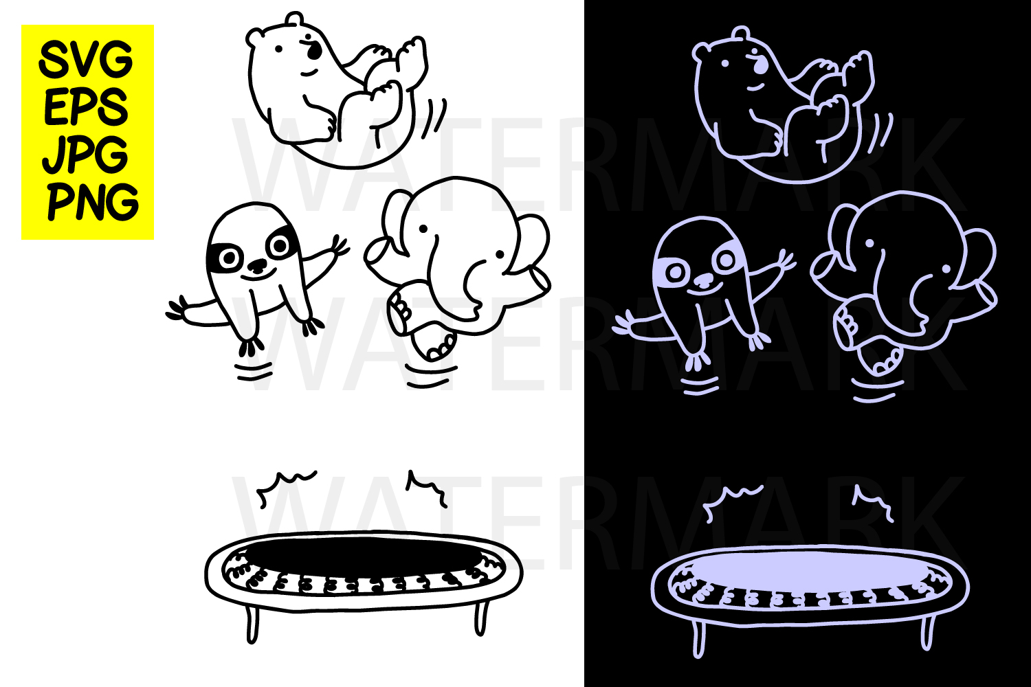 Trampoline with elephant sloth and bear- SVG-EPS-JPG-PNG example image 1