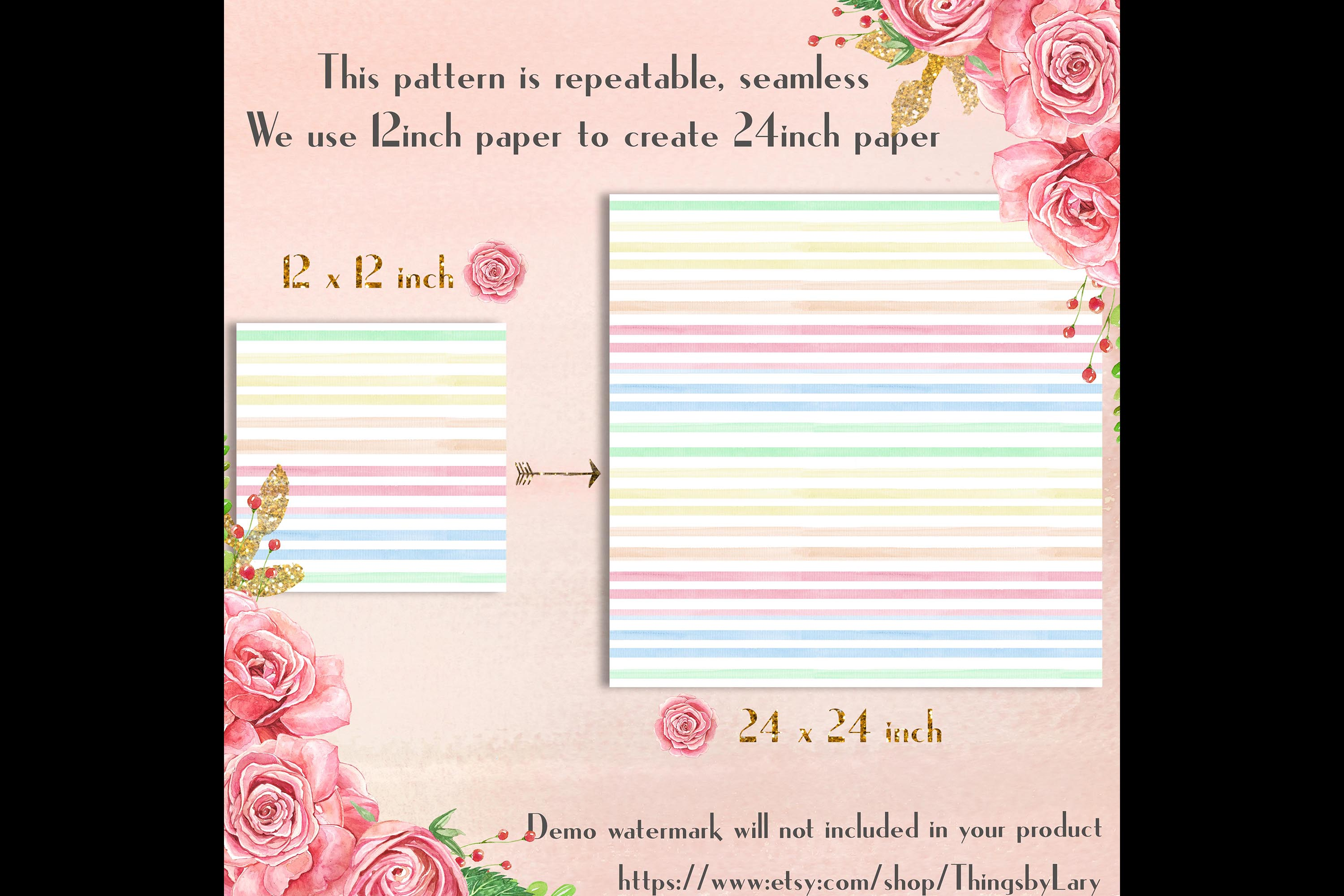 16 Seamless Watercolor Pastel Rainbow Ombre Stripes Papers example image 3