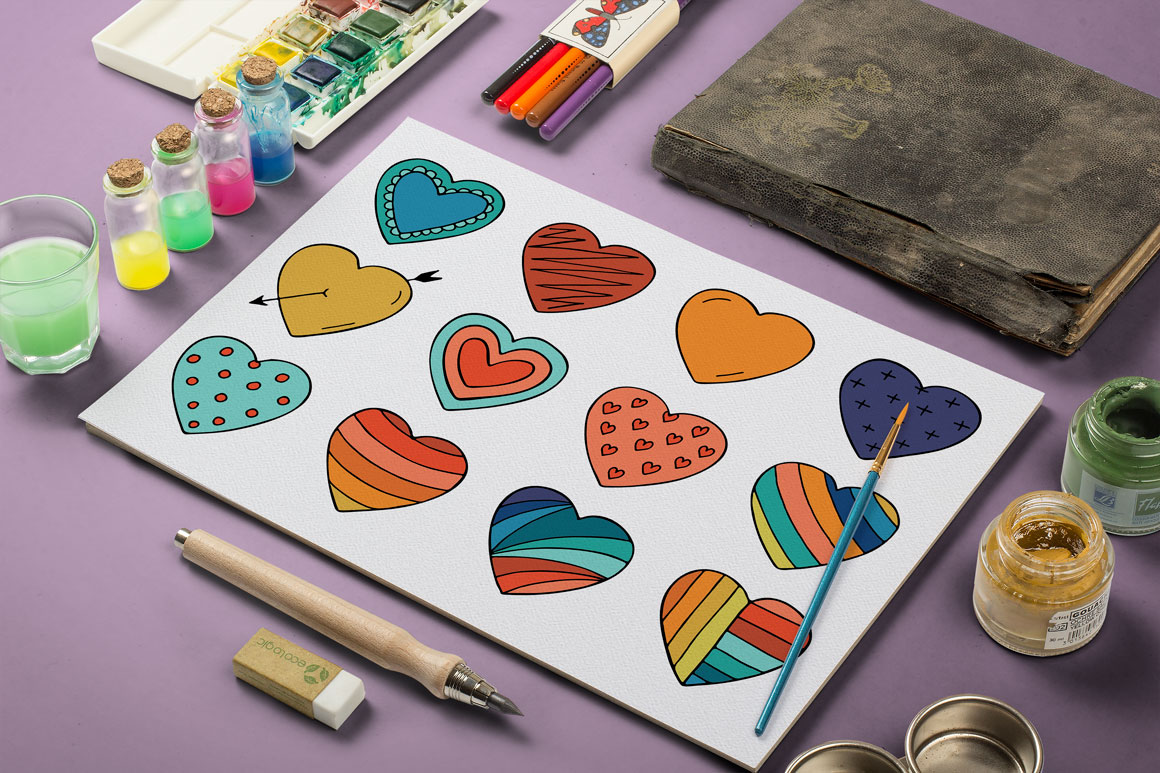 Collection of color hearts + pattern example image 2