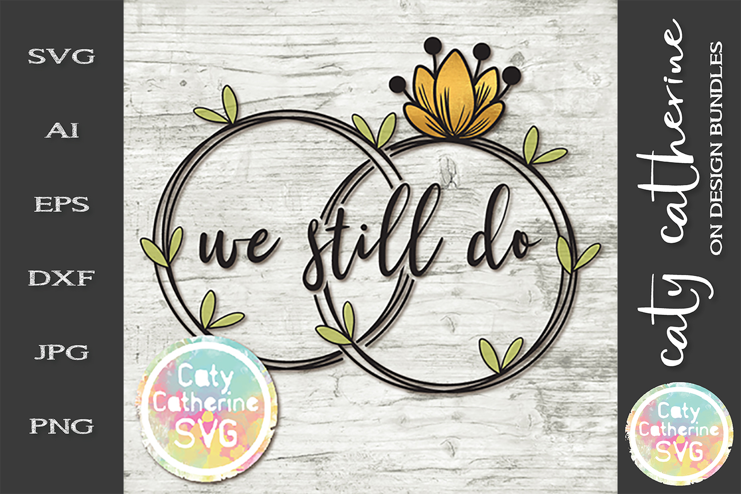 We Still Do Floral Wreath Wedding Bands SVG Cut File example image 1