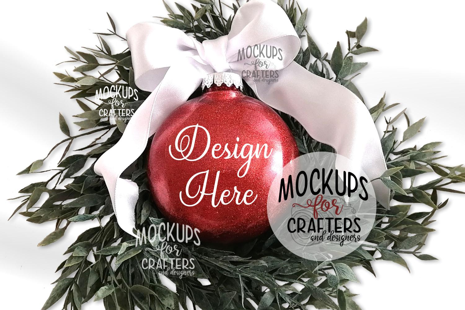 Red Glitter Ornament Mock-Up example image 1