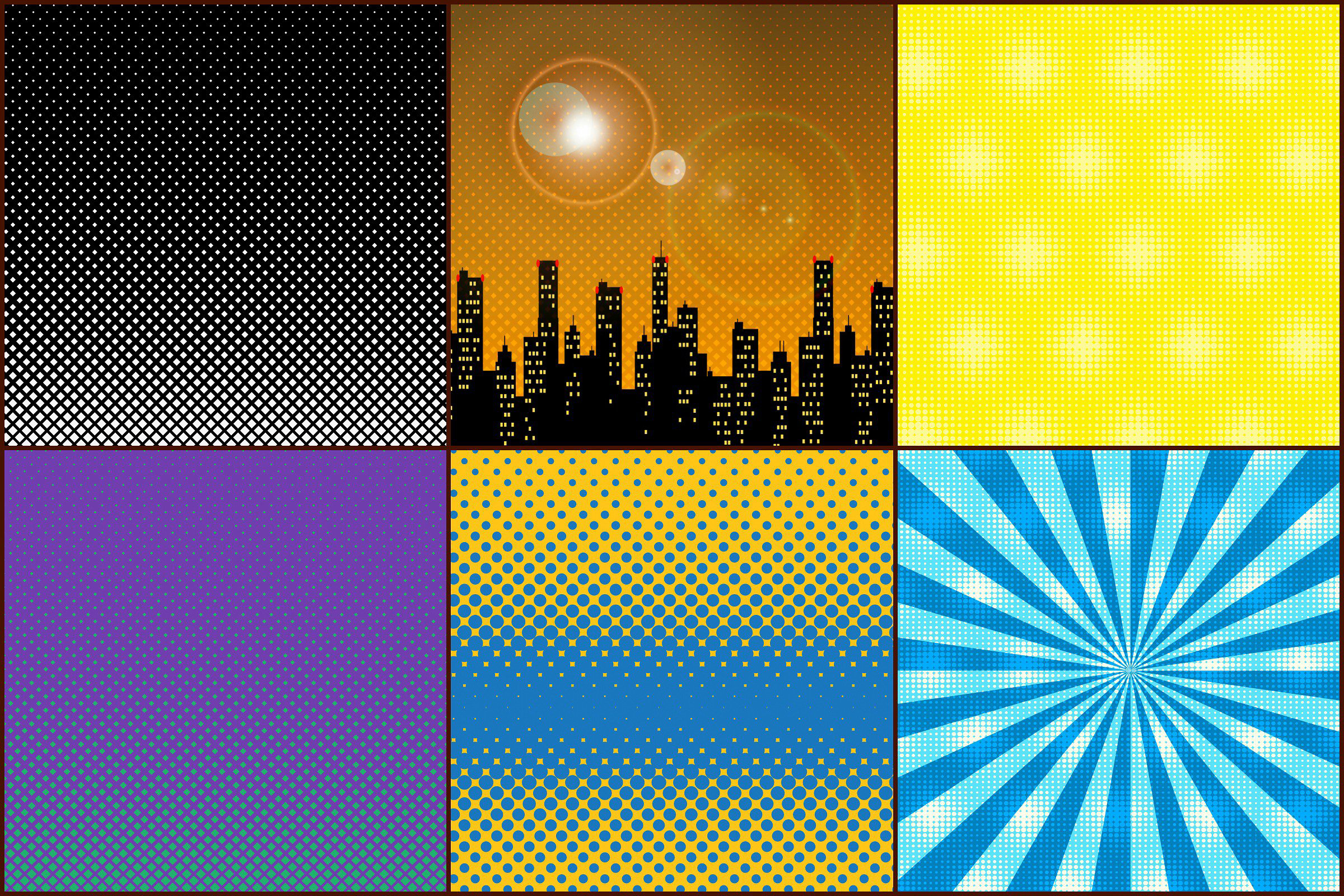Superhero Pop Art Comic Digital Papers, Halftone Patterns example image 2