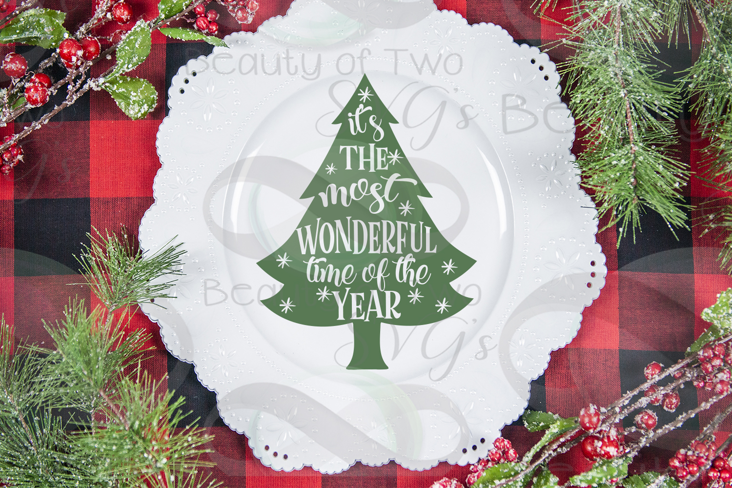Christmas Ornament svg, Most wonderful time of year tree svg example image 4