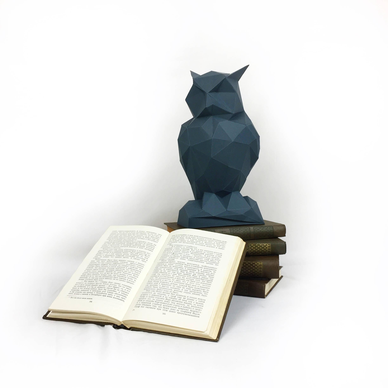 Night Owl, Papercraft Owl, Paper Owl, Animal Trophy, Loft Decor, Home Decor, 3D papercraft model, animal head, lowpoly DIY, hobby idea, DIY example image 9