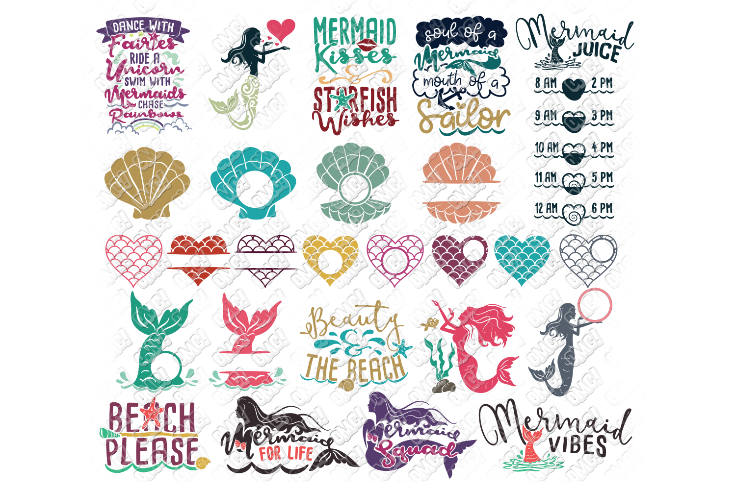 View Mermaid Tail And Clam SVG Cut Files For Girls