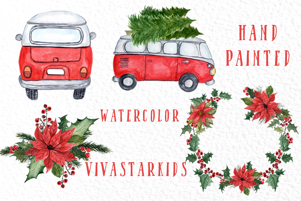 Watercolor Christmas Cars clipart example image 3