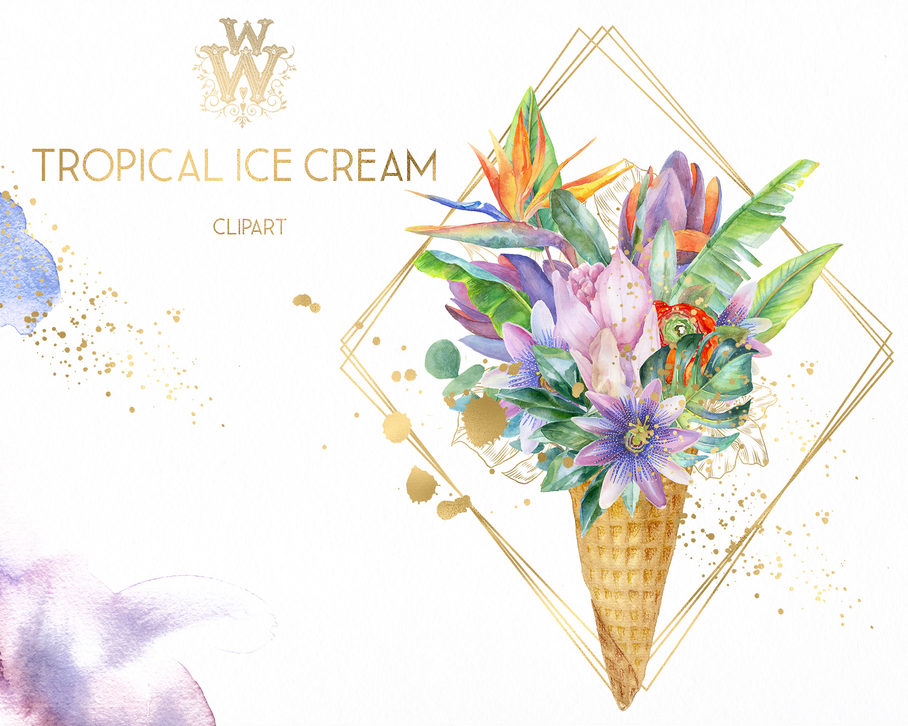 Watercolor summer tropical flower clipart, floral Ice Cream example image 4