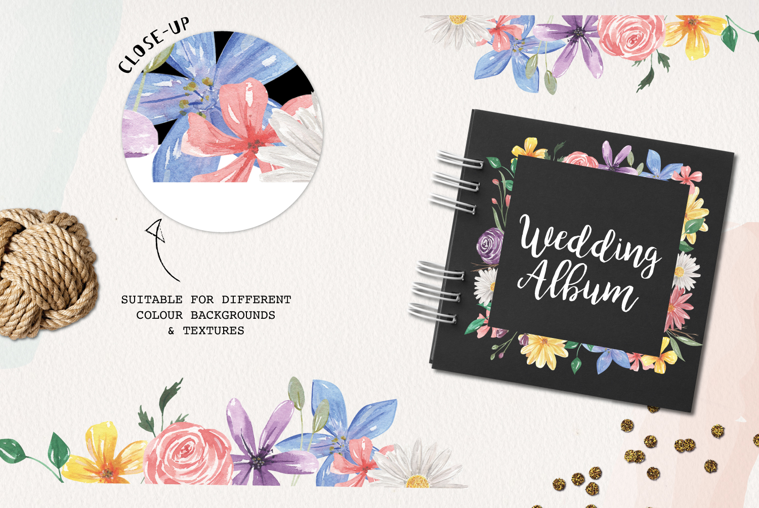 Allura Florals 7 Frames Diasy Flowers Watercolor Blue Pink example image 2