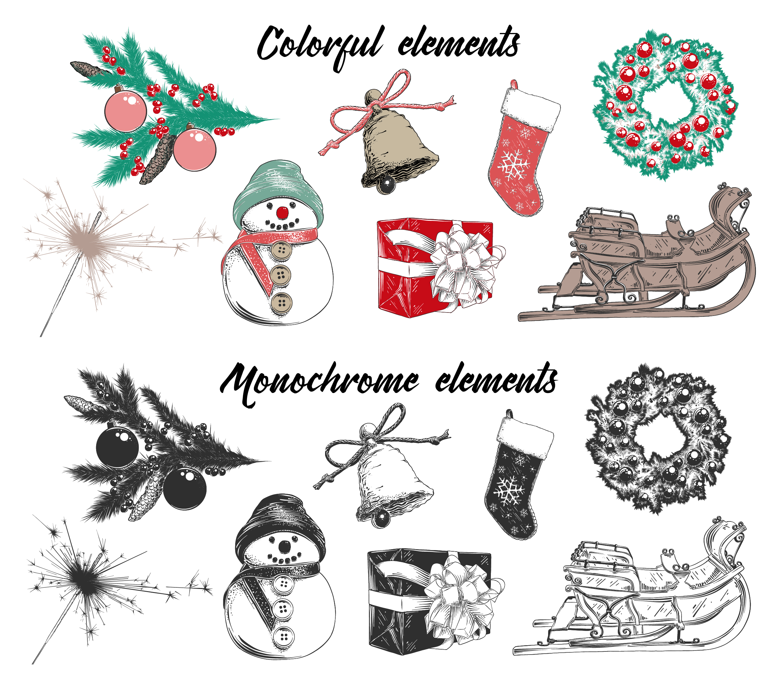Christmas elements and lettering example image 3