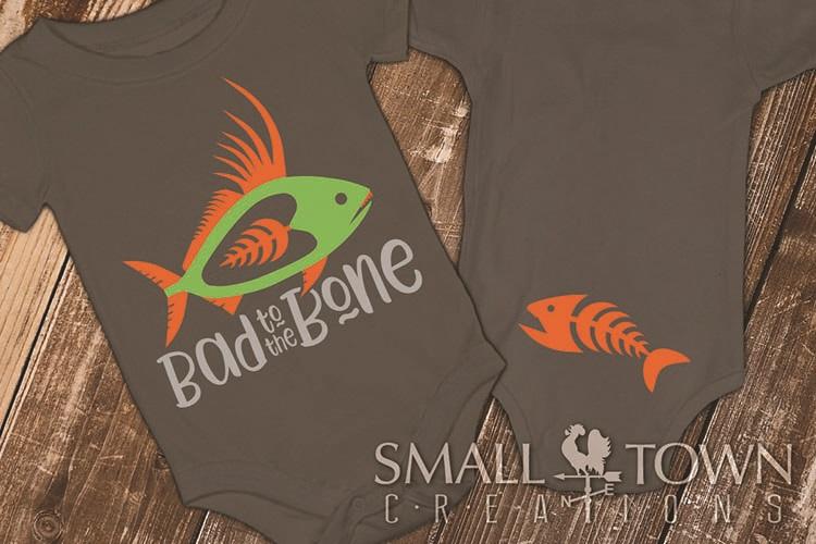 Bad to the Bone, Fish logo, Bodysuit, PRINT, CUT & DESIGN example image 1