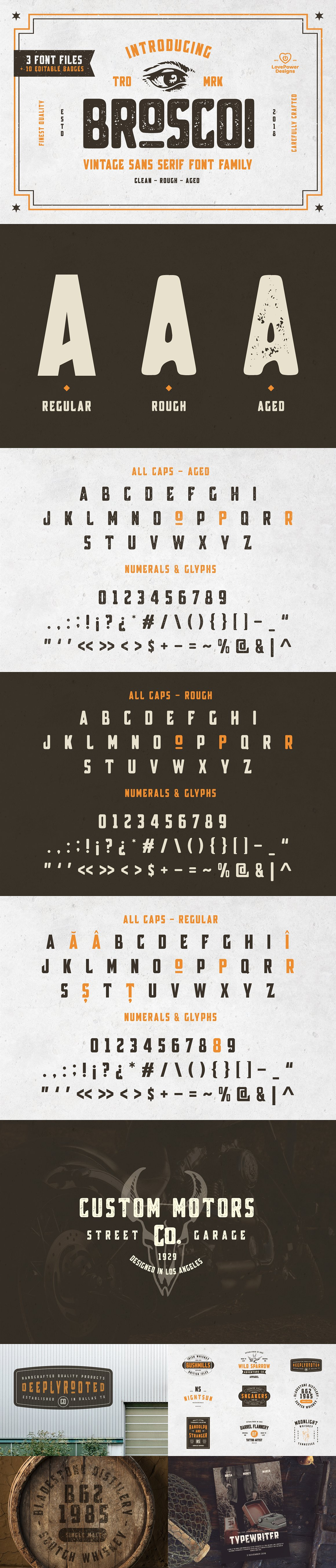 Broscoi - Vintage Font Family - Free font demo link included example image 11