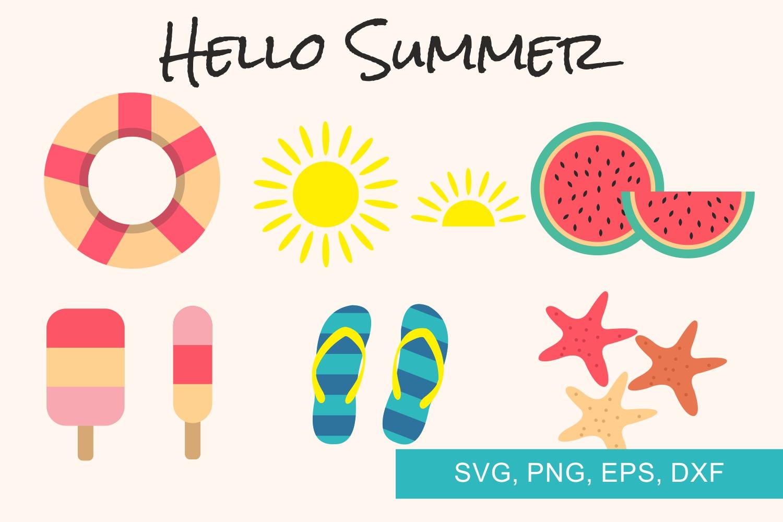 Hello Summer, Summer, Svg files example image 1
