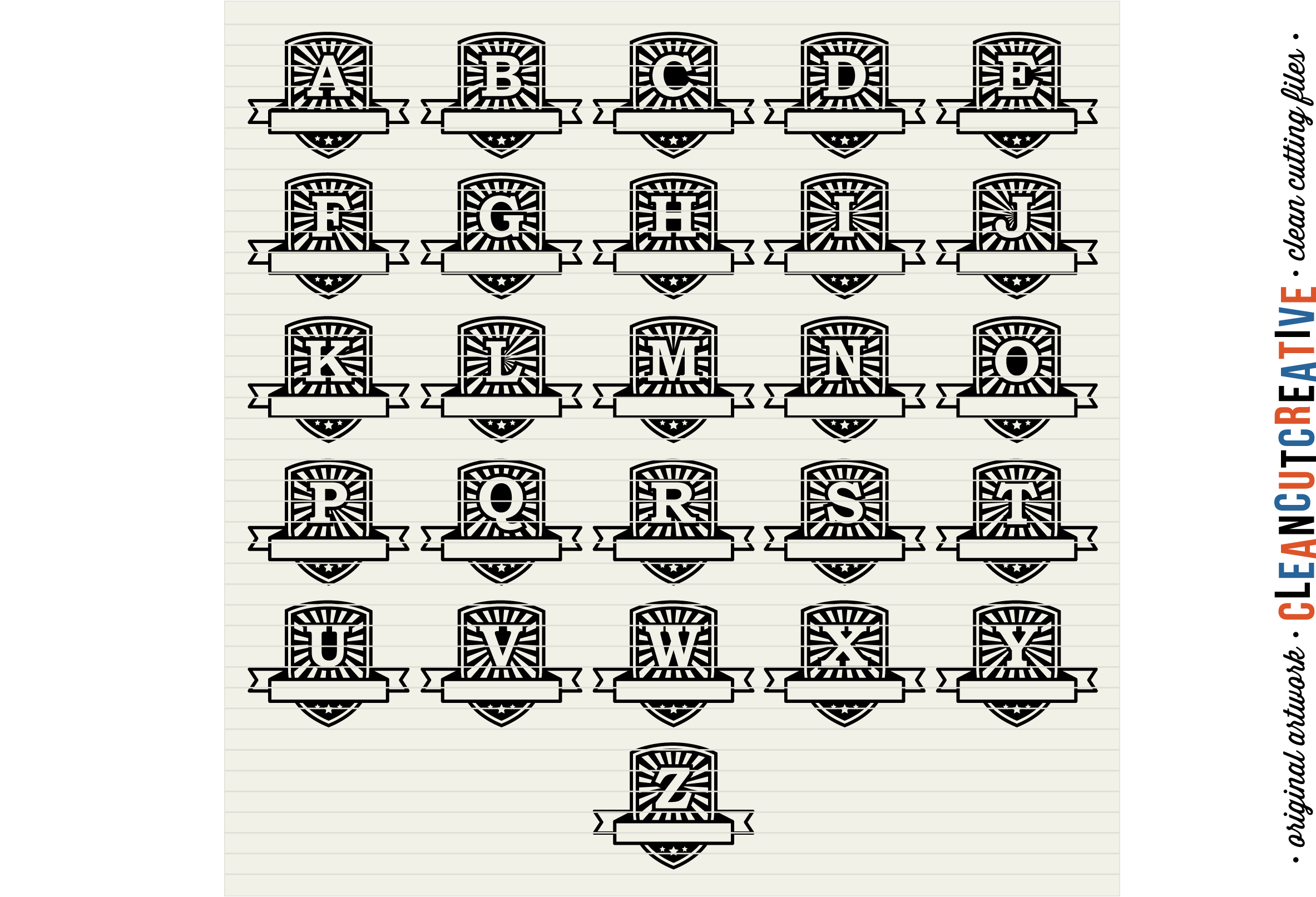 Retro Badge Monogram Font- DXF EPS SVG - Cricut and Silhouette - clean cutting files example image 3