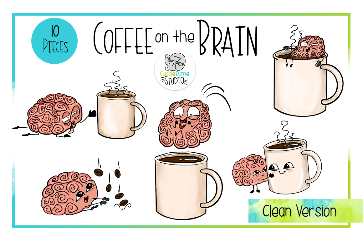 Coffee on the Brain | Funny Coffee Brain Clipart example image 2