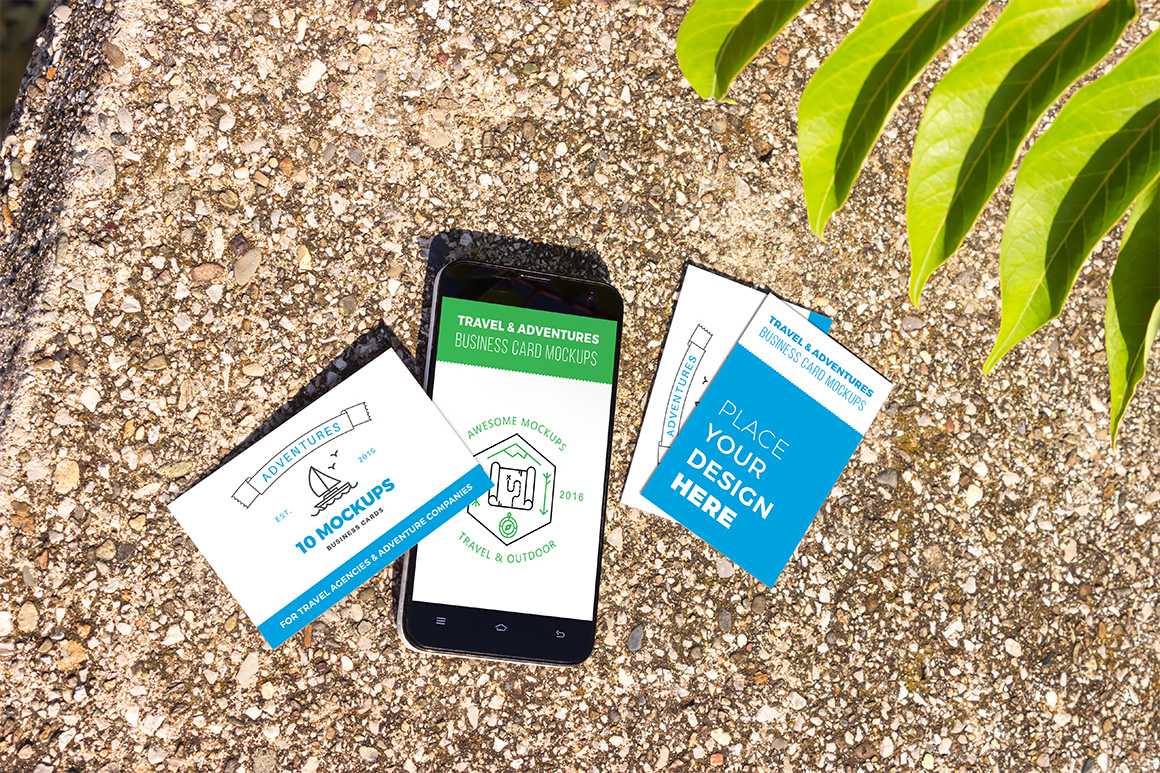Business cards mockup 06 | Travel Mockup Collection Set 1 example image 1