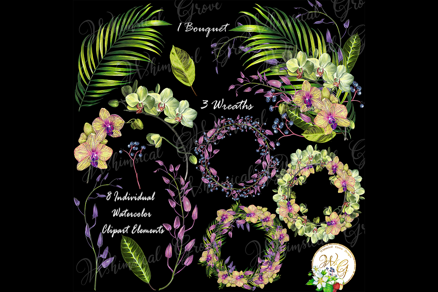 Orchid set 12 watercolor handpainted clipart, floral, wreath example image 2