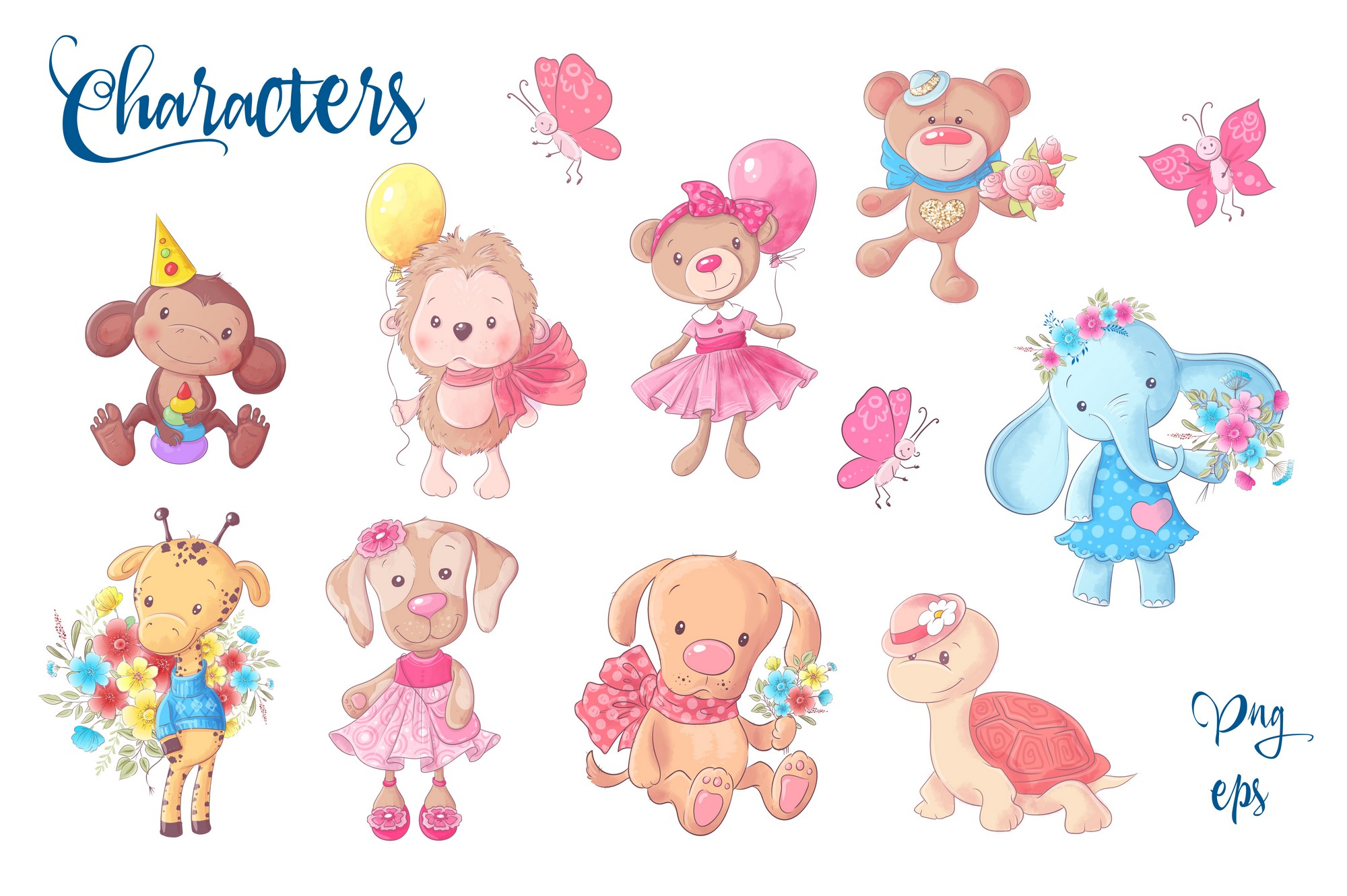 Cute Characters vector clip art example image 2
