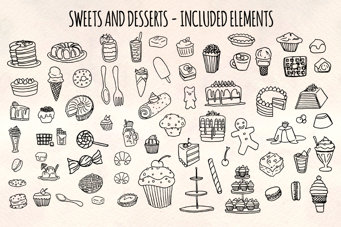 68 Sweets, Cakes and Desserts Graphic Vector Sketch example image 2