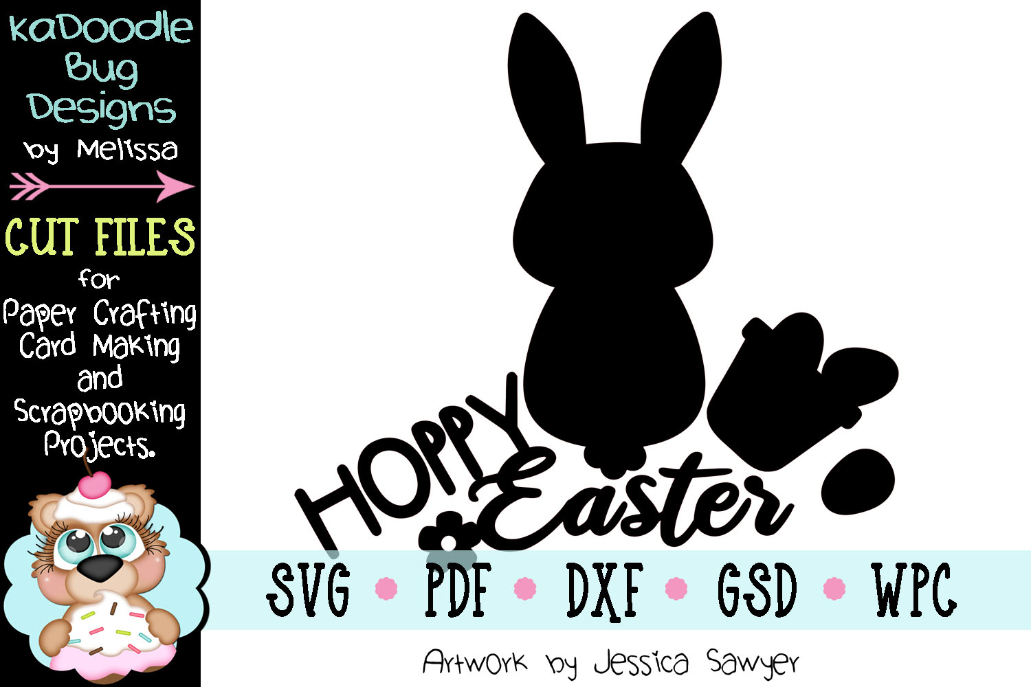 Hoppy Easter Bunny Title Cut File - SVG PDF DXF GSD example image 2