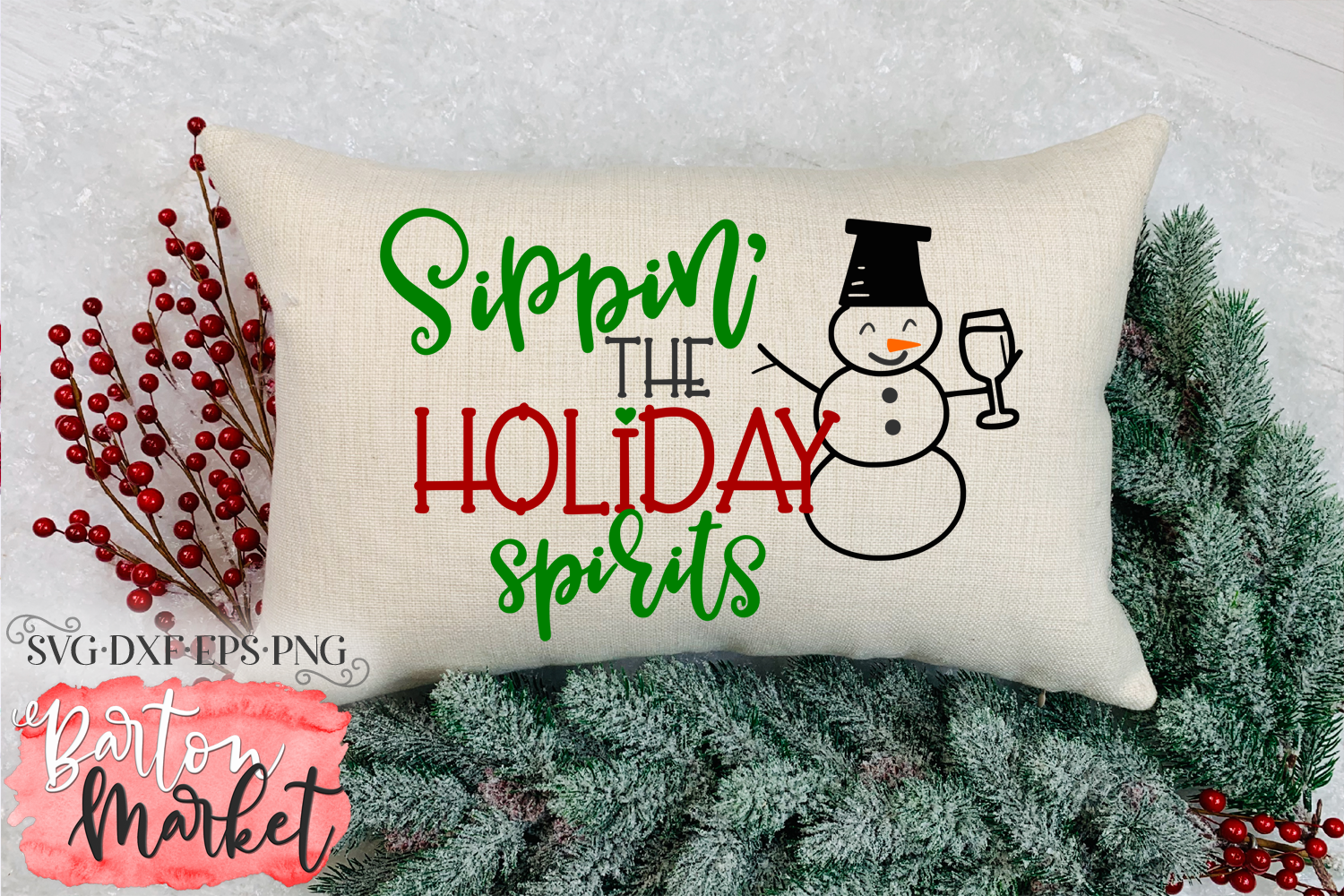 Sippin' The Holiday Spirits SVG DXF EPS PNG example image 1