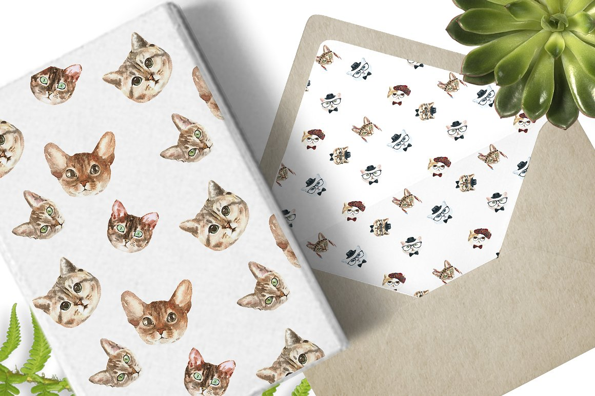 Cat watercolor patterns  example image 5