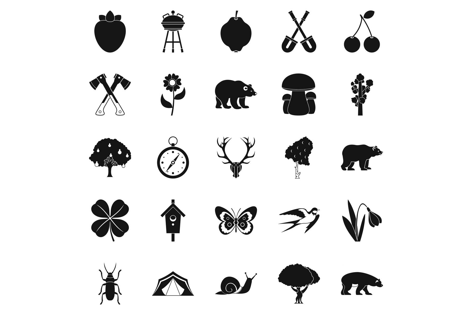 Trekking in the wild icons set, simple style example image 1
