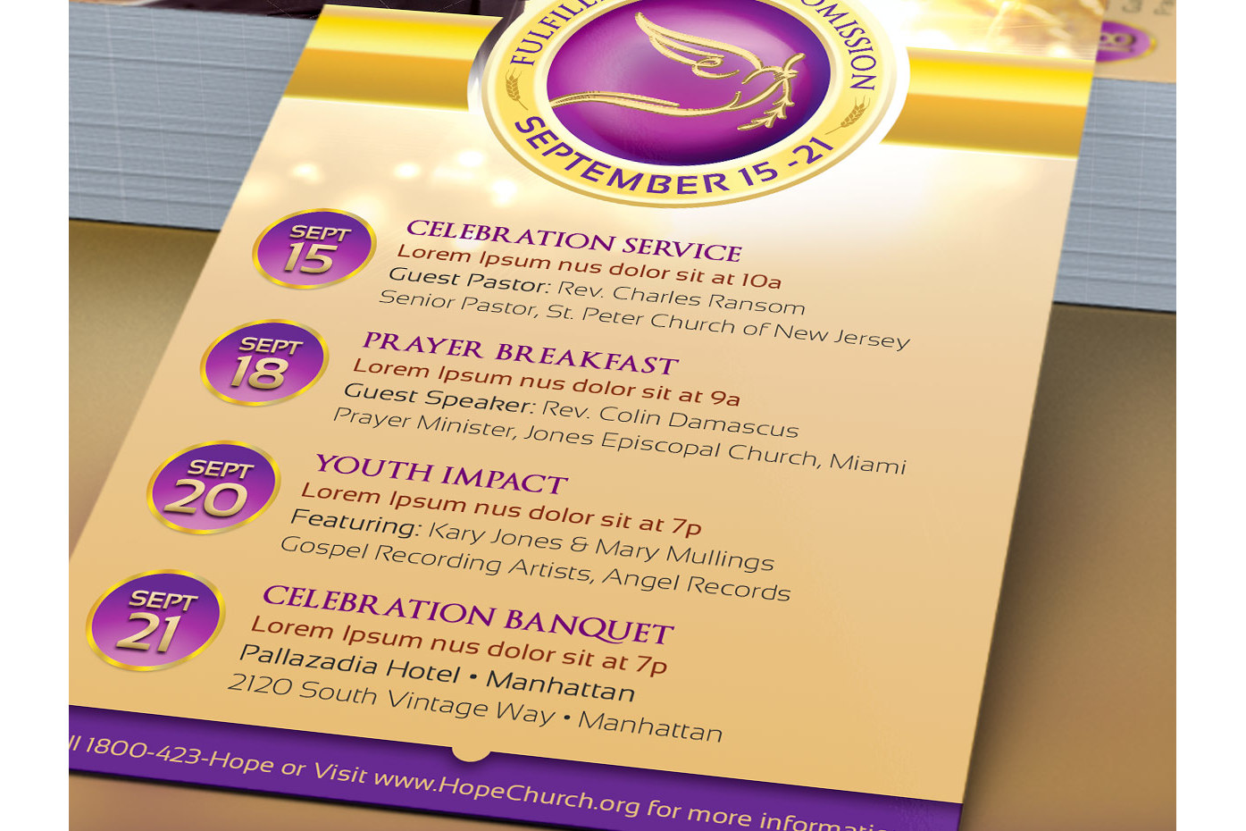 Clergy Anniversary Rack Card Template example image 3