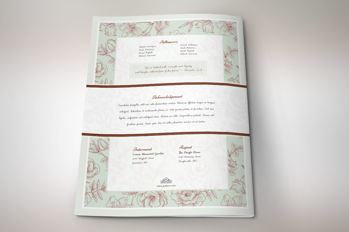 Vintage Rose Funeral Program Template example image 5