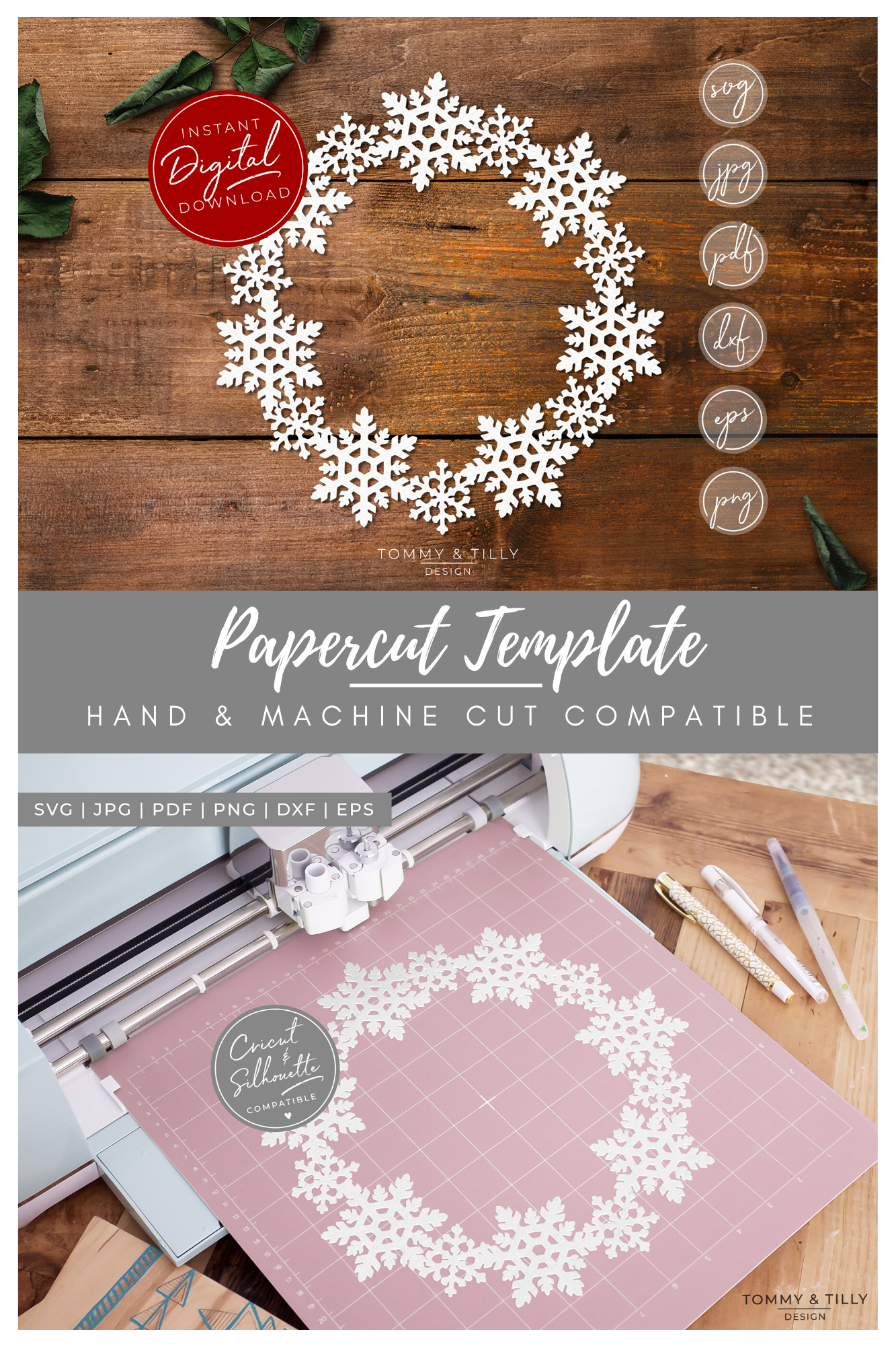 Snowflake Wreath - SVG EPS DXF PNG PDF JPG example image 3