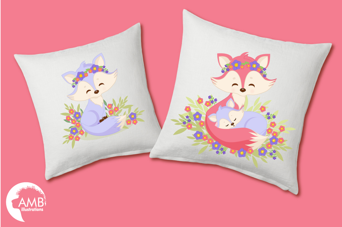 Cute Girl Foxes clipart, graphics, illustrations AMB-1377 example image 2