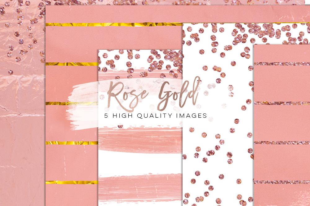rose gold foil scrapbooking, Confetti Digital Paper, Rose Gold Glam Digital Paper, rose gold glitter foil Metallic texture, planner stickers example image 2