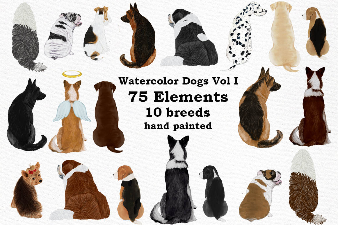 Dogs Clipart,Dog breeds Pet clipart,Watercolor dogs clipart example image 1