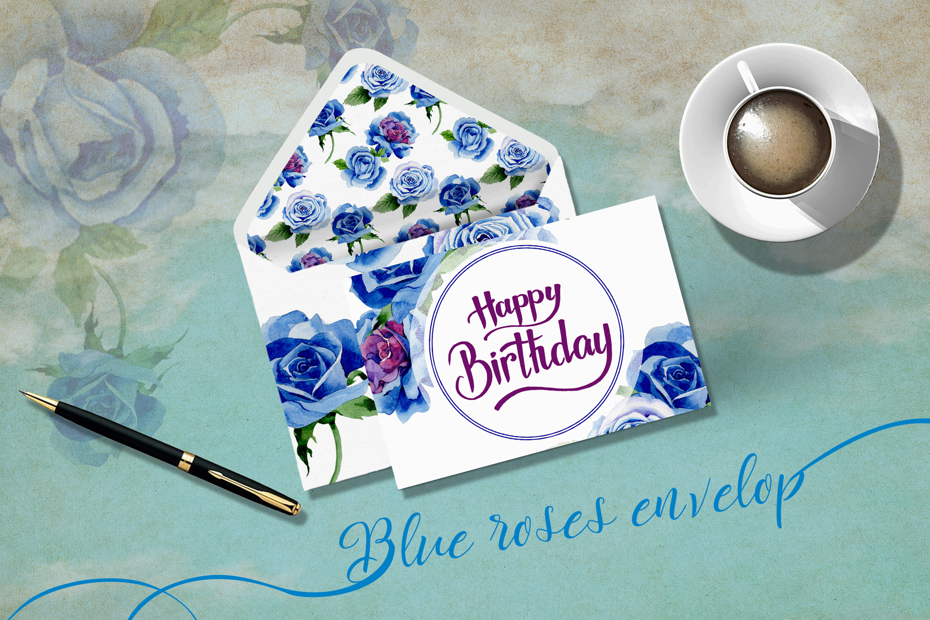Beautiful blue roses PNG watercolor flower set example image 7