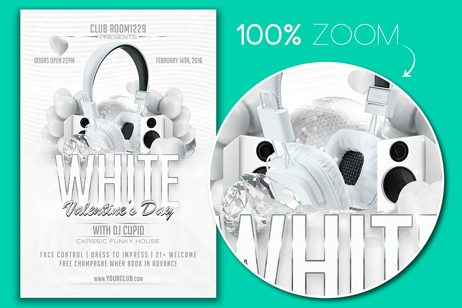 White Valentine Day Flyer Template & Facebook Cover example image 2