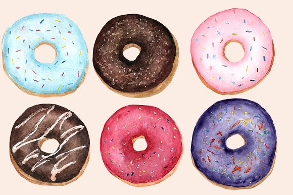 Watercolor Donuts Clip Art Set example image 2