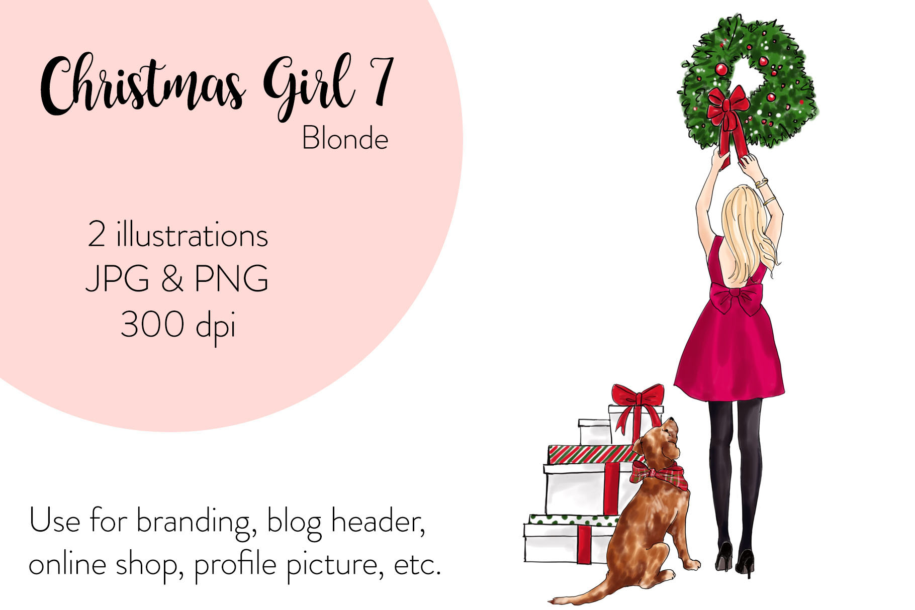 Fashion illustration - Christmas Girl 7 - Blonde example image 1